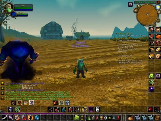 Click to view full size image  ==============  Boring picture...but GREAT teachings! This is actually why its important to be in a great guild like Clown...here I am defending Westfalls from Harvesters.  Why am I defending Westfall from something that sounds like it harvests?  Well mind your own business!  Oh, and look at the chat...Farwan is WISE!!